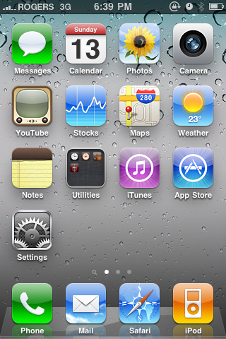 iPhone4 Default Homescreen / Dashboard